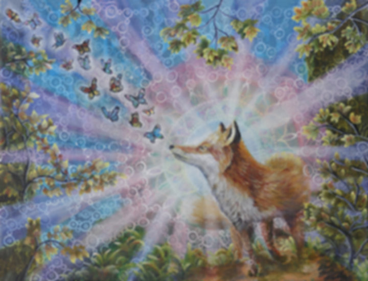 Spiritanimal, fox, curiosity, magic, acrylic painting, spirit animal, animalspirit, nature is magic, naturemagic, magic of nature, fuchs