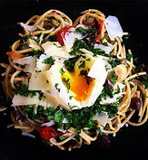 Fresh pasta with blistered cherry tomato, kalamata, herbs, parm, melted brie, olive oil, soft pastured egg