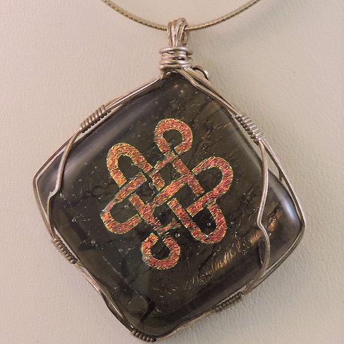 Greenish bronze translucent base pendant