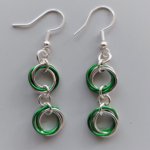 copy of Sterling Silver  and green double Rosette earrings