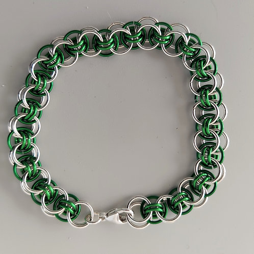 Green and Sterling Silver Helm bracelet