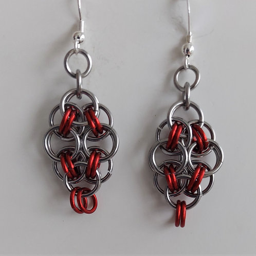 Red and Stainless Steel earrings