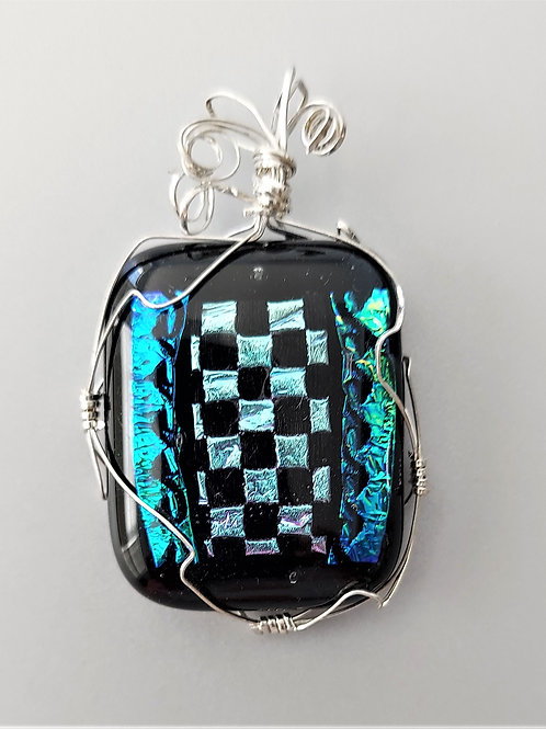 Sterling wire wrapped Checkered Pendant
