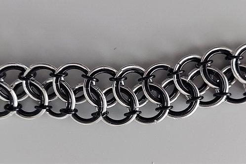 Sterling Silver and black bracelet