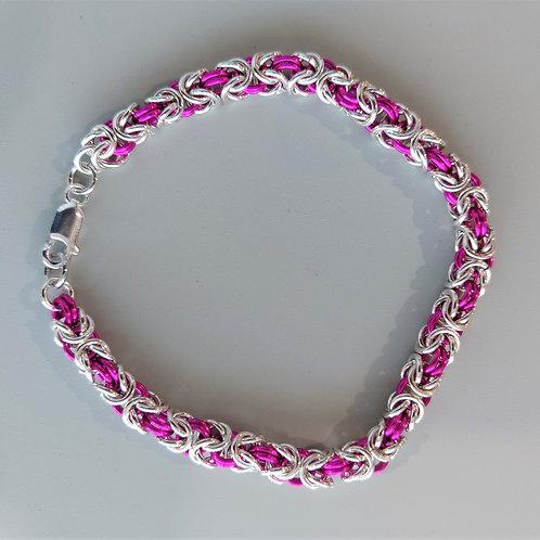 Sterling silver and pink Byzantine bracelet