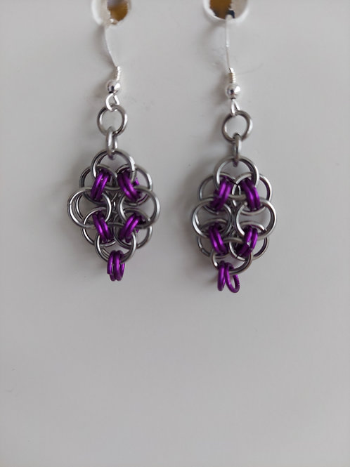 Purple and Stainless Steel earrings