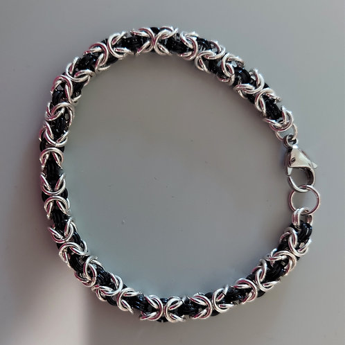 Black and sterling silver Byzantine bracelet