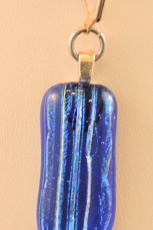 Blue striped dichroic glass pendant