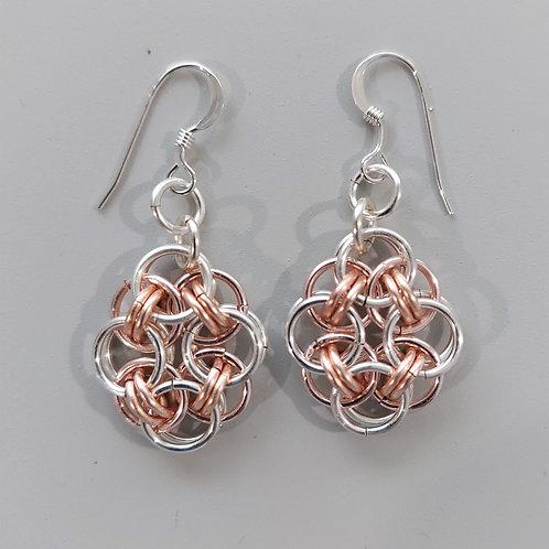 Silver enameled copper Helm earrings