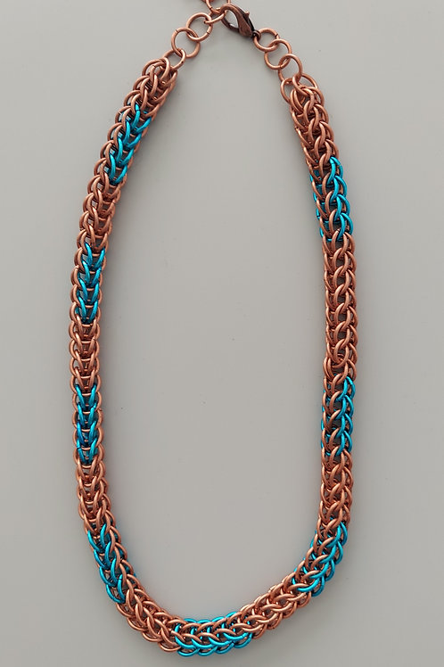 Copper and turquoise Full Persian necklace