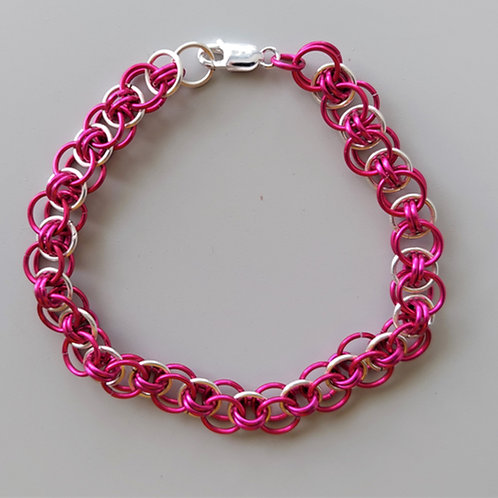 Silver  and Aluminum pink Helm bracelet