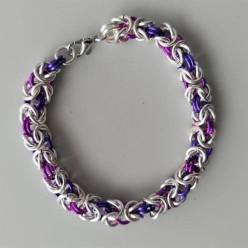 Enameled Silver wide Byzantine bracelet