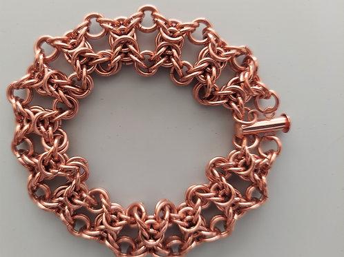 Wide Byzantine bracelet in Copper