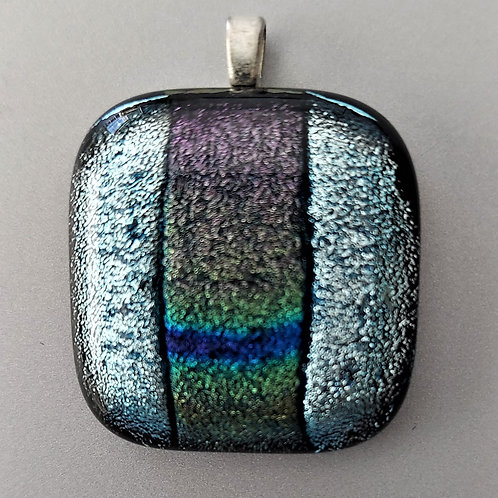 Icy silvery blue with green and purple dichroic glass design