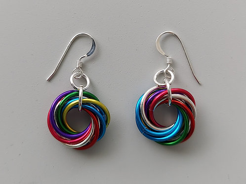 Sterling Silver and multicolor Love Knot  earrings
