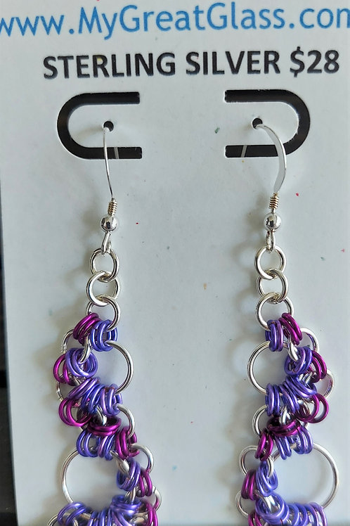 Lacy Sterling Silver and purple earrings