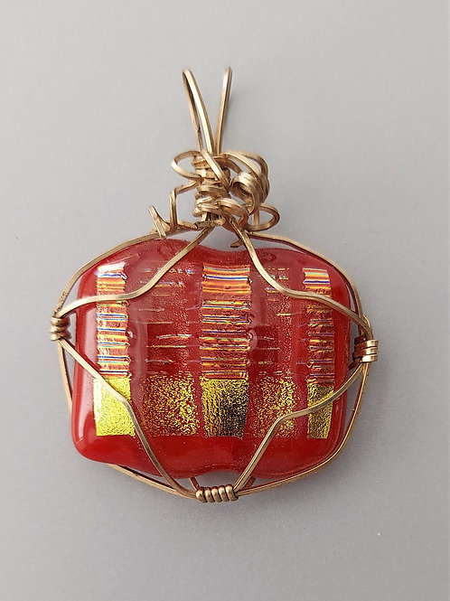 Wire wrapped red dichroic pendant