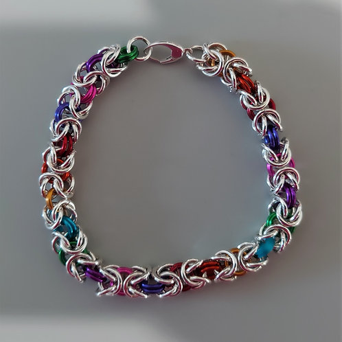 Thicker Byzantine bracelet in Sterling Silver and multicolored links