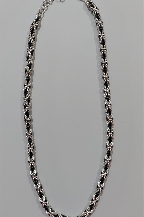 Elegant Black and Sterling Byzantine necklace