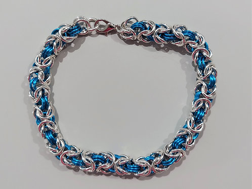 Thicker Byzantine bracelet in Sterling Silver & turquoise