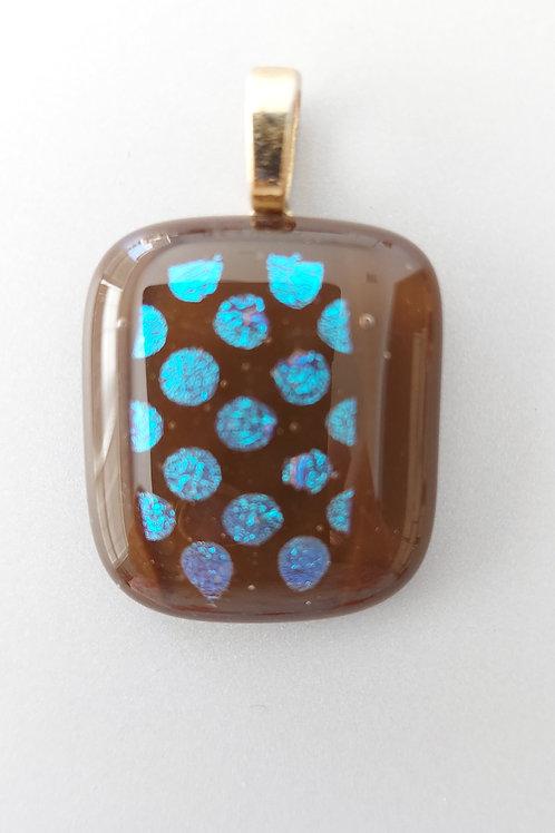 Blue polka dots on brown pendant