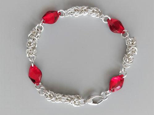 Red Swarovski crystals and Silver bracelet