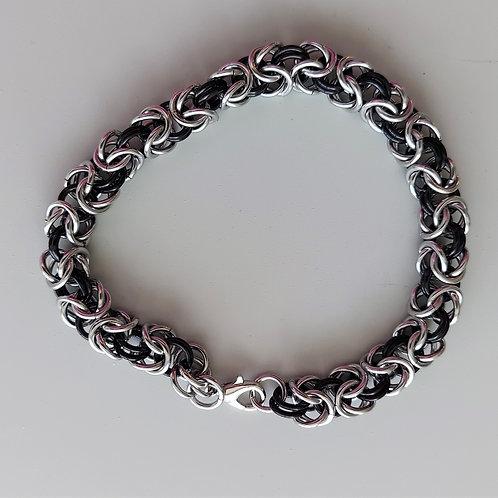 Black and stainless steel Byzantine bracelet