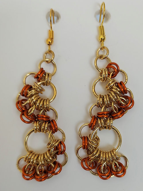 Lacy NuGold and orange earrings