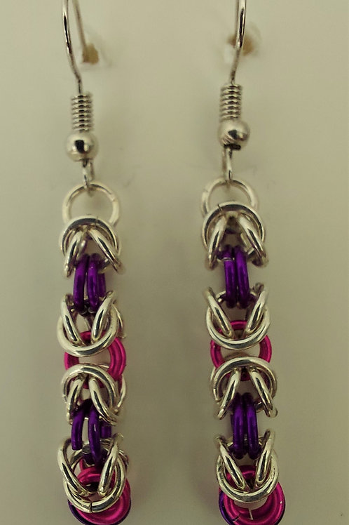 Sterling Silver and pink and purple earrings