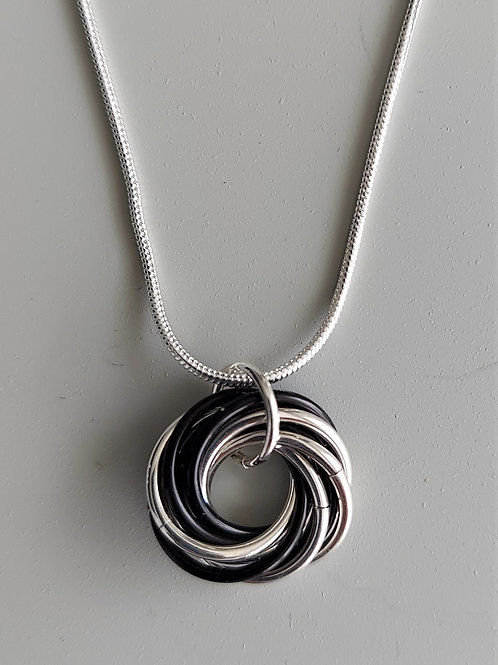 Sterling Silver and Black Love Knot