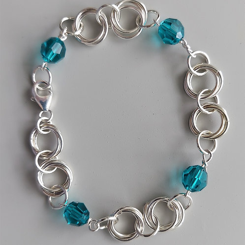 Sterling silver and Teal Swarovski crystals bracelet