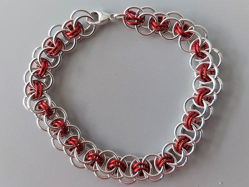 Red and Sterling Silver Helm bracelet