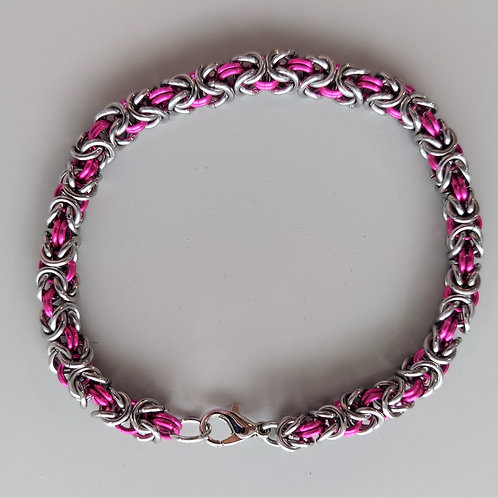 Pink and stainless steel Byzantine bracelet