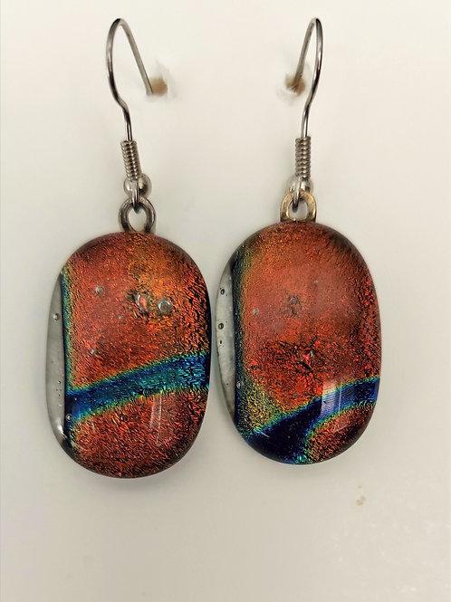 Coppery glass earrings