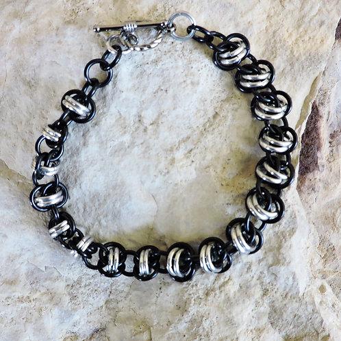 Black and silver Barrel bracelet