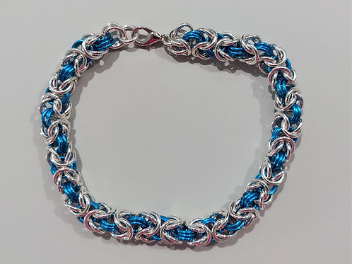 Turquoise and Sterling silver Byzantine bracelet