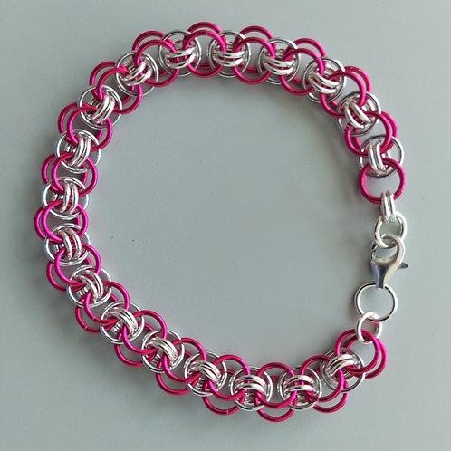 Pink and Sterling Silver Helm bracelet
