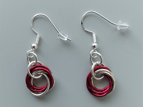 Sterling Silver  and red Rosette earrings