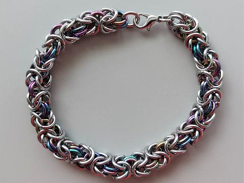 Stainless Steel and Niobium Byzantine bracelet