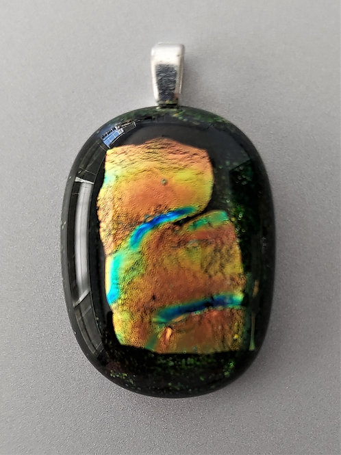 Greens, blues and copper pendant