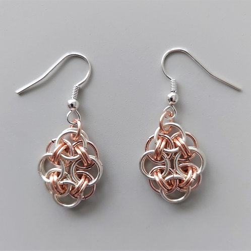 Silver and Rose Helm earrings