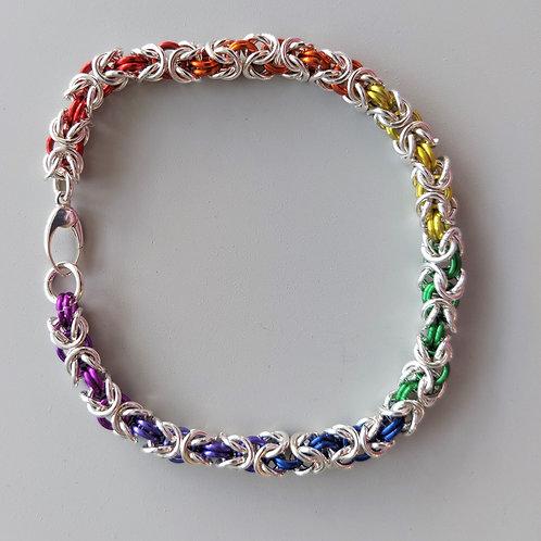 Rainbow sterling silver Byzantine bracelet