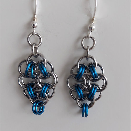 Blue and Stainless Steel earrings