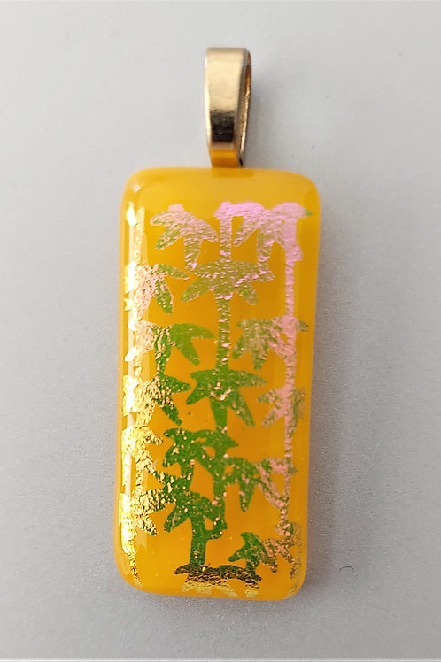 Gold and pink dichroic palm trees pendant