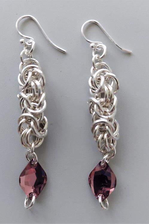 Dusty pink Swarovski crystal earrings