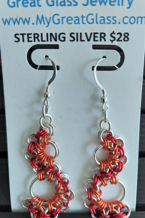 Lacy Sterling Silver and red and orange earrings