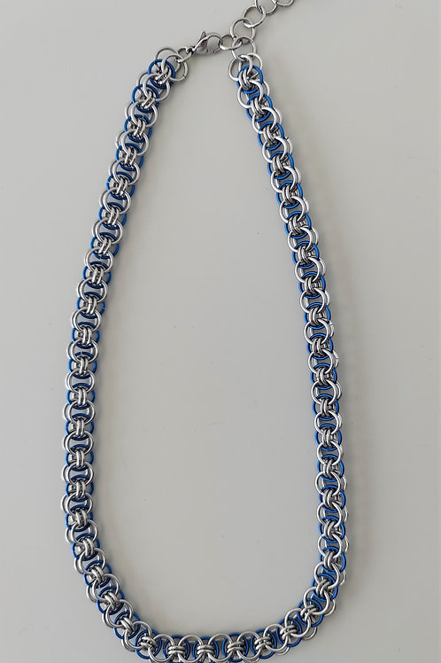 Stainless steel and blue Helm necklace