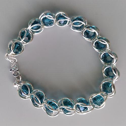 Teal Swarovski crystals bracelet
