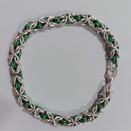 Green and sterling silver Byzantine bracelet