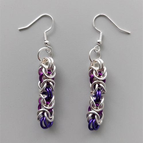 Silver enameled copper and purples Byzantine earrings